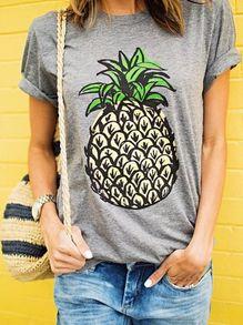 T-shirt imprimé ananas manche courte -gris