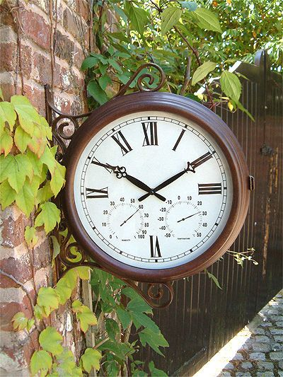 Outdoor Garden Station Clock Double Sided Decoration Thermometer Humidity Dial Garden Clocks Outdoor Clock Garden Station Double sided outdoor clock