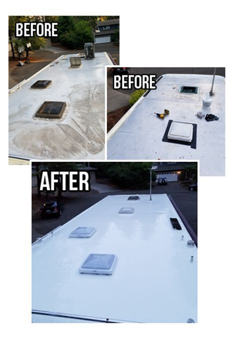 When Looking For A Long Term Roof Solution Rv Roof Magic Provides Outstanding Characteristics Not Found In Other Co Rv Repair Rv Roof Repair Remodeled Campers