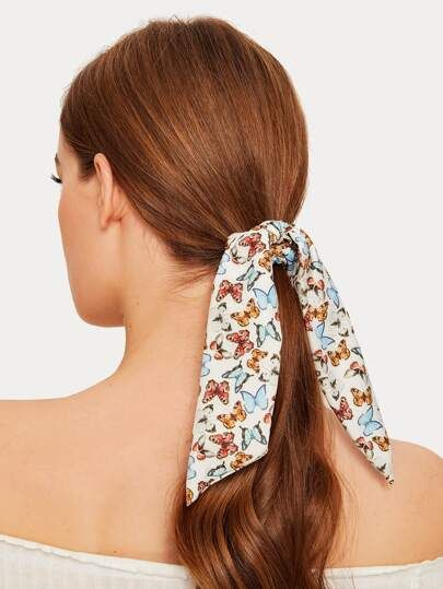 Pin By Ashlee Ann On Hair Band Aid Patterned Scrunchie Butterfly Pattern Scarf Hairstyles