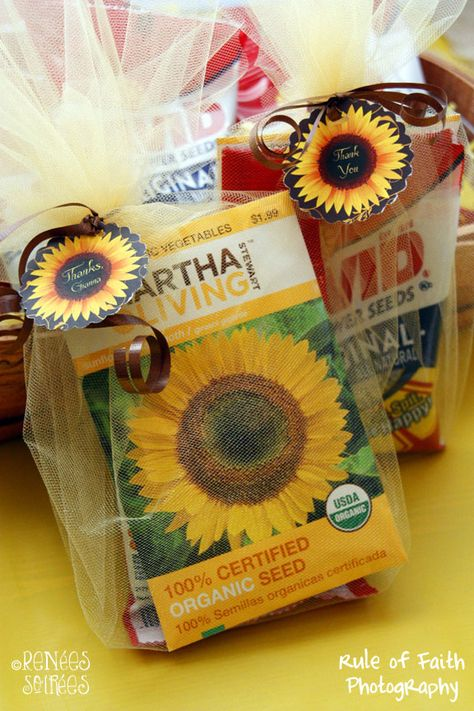 Sunflower party favors. I put a bag of (edible) sunflower seeds with a bag of (plantable) seeds, gathered them with yellow tulle & a brown ribbon & added a cupcake topper / favor tag.    #MarthaStewart