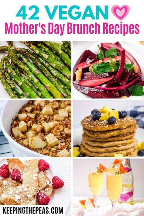 These 42 healthy vegan Mother's Day brunch ideas have recipes that everyone will love. From a special mimosa to baked casseroles, sweet treats, and hearty savory dishes, there's a little something to make every mom feel special.