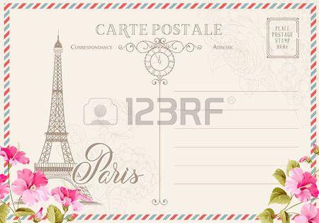 Postal Blanco Viejo Con Sellos De Correos Y La Torre Eiffel Con