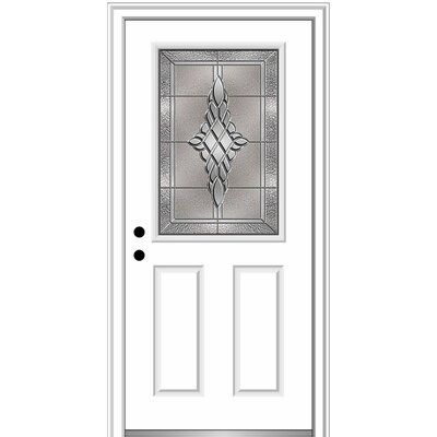 Verona Home Design Fibreglass Smooth 1 2 Lite 2 Panel Single Entry Door Door Orientation Right Hand Inswing Door Size 80 H X 36 W X 1 75 D Fini Aluminum Screen Doors Wood Exterior