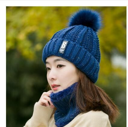 Wool Women Autumn Winter Beanie PomPom Hat Thick Neck Warmer Knit Balaclava Hot