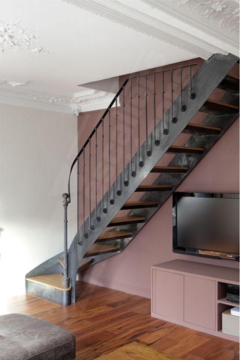 Amazing Escalier En Metal Interieur #12: Photo DT99 - ESCAu0027DROIT® 1/4 Tournant Bas. Escalier Intérieur Balancé