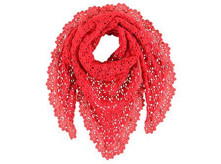 Leuke driehoekige sjaal met beschreven patroon.