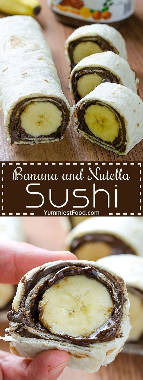 Kids Meals Banana and Nutella Sushi - Easy and healthy snack. Kids will love this Banana and Nutella Sushi. - Banana and Nutella Sushi - Delicious, cute, easy and quick! Easy and healthy snack! Kids will love this Banana and Nutella Sushi! Yummy Snacks, Yummy Food, Nutella Snacks, Healthy Nutella Recipes, Nutella Deserts, Delicious Desserts, Healthy Cheesecake, Cute Snacks, Food Deserts