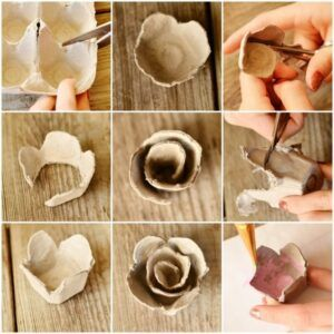 5 Ideas Para Hacer Flores Con Cajas De Huevos Paso A Paso En 2020 Cajas De Huevos Manualidades Manualidades Con Hueveras Manualidades