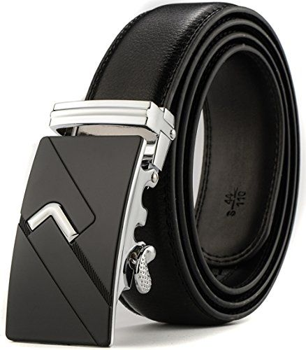 XHtang Fashion Men's Ratchet Belt Automatic Buckle Full G
