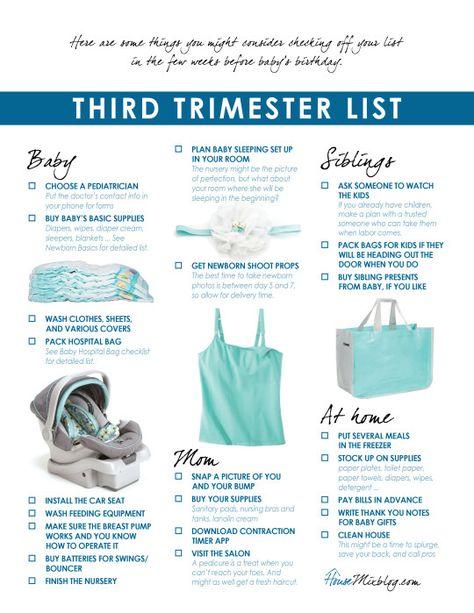 Preparing for baby: Third trimester checklist printable