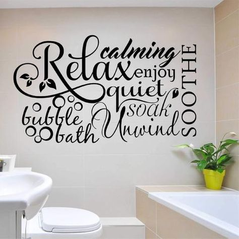 BATHROOM Words Lettering Wall Decal Subway Quote Art Decor Sticky