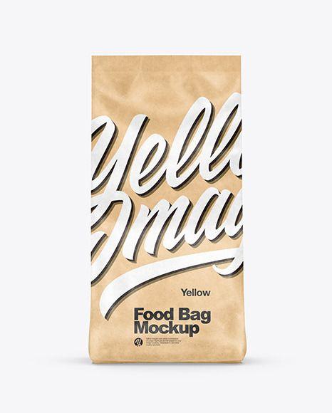 Kraft Food Bag Mockup In Bag Sack Mockups On Yellow Images Object Mockups In 2021 Bag Mockup Kraft Recipes Kraft