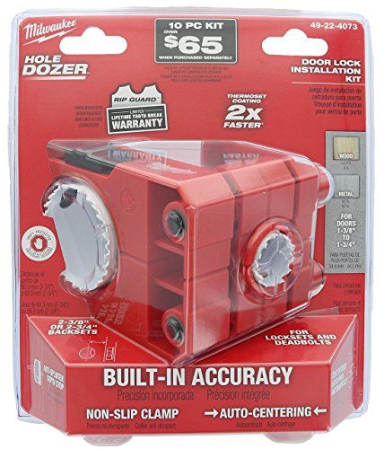 Milwaukee 49 22 4073 Polycarbonate 1 3 8 1 3 4 Door Lock And Deadbolt Installation Kit With Included Hole Saw Auto Centering Guide And N Drill Driver Hole Saw Door Locks