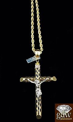 Real 10k Yellow And White Gold Jesus Cross Charm Pendant With 26 Inch Rope Chain Ebay Cross Charms Charm Pendant Chains Necklace