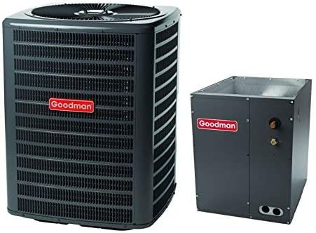 Goodman 2 5 Ton 13 0 Seer Air Conditioner System With Upflow Downflow Evaporator Coil And In 2020 Heat Pump System Air Conditioning System Split System Air Conditioner