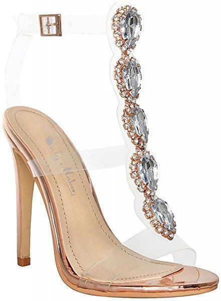 664947a61a33f Amazon.com | Onlymaker Ankle Strap Gem Clear Stiletto High Heels ...