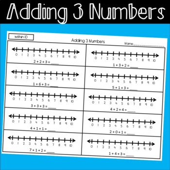 Resource To Help Students Practice Adding 3 Numbers Using A Number Line Worksheets Within 10 And Within 20 12 Sh Number Line Worksheets Adding And Subtracting Addition worksheets with number line