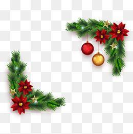 Christmas Decoration Box Pine Flower Christmas Elements Vector Free Stock Png Christmas Vector Bo Christmas Border Christmas Card Background Christmas Boarders