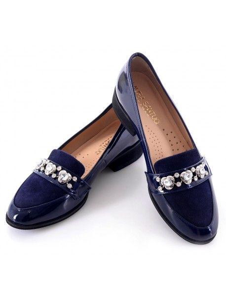 Piekne Polskie Polbuty Wloska Skora Lakierki Granatowe Bogato Zdobiona Wstawka Loafers Shoes Fashion