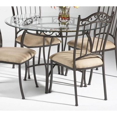 Somette Round Wrought Iron Glass Top Dining Table Somette