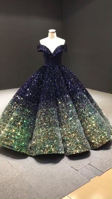 Dark blue and green ombre Quinceanera dress