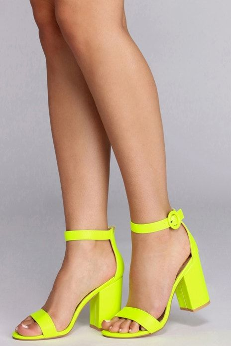 neon yellow heels feature an open toe