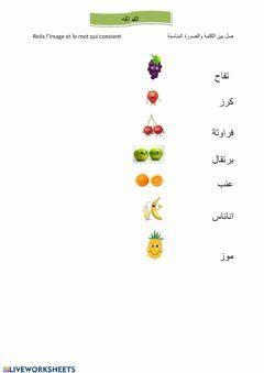الفواكه Language Arabic Grade Level 1 School Subject لغة عربية Main Content صل بين الكلمة والصورة Other Cont Worksheets Arabic Worksheets Online Activities