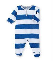 901f554418da3 Combicourt bébé garçon à rayure irrégulière blanc Ecume   bleu ...