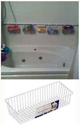 Shower Rod Shower Hooks Wire Storage Basket Creates Bath Toy