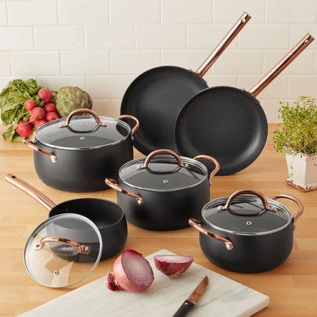Home Cookware Set Rose Gold Kitchen Pots Pans Sets