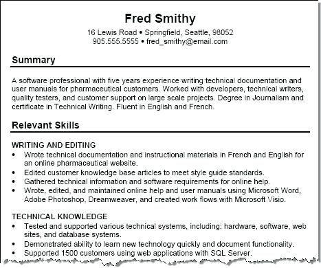 Resume Technical Summary Resume Skills Resume Examples Resume Skills Section
