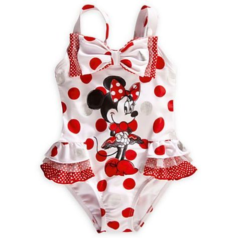 Disney Minnie Mouse Toddler Girls Blue Red White One Piece Swimsuit Size 5T NWT