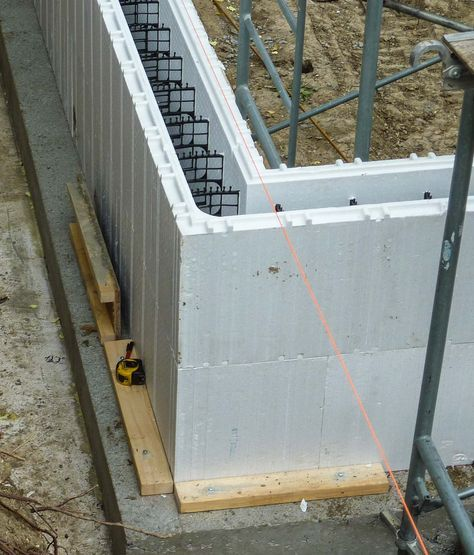 The insulated concrete form foundation was insulated with an additional 10 inches of expanded polystyrene insulation.