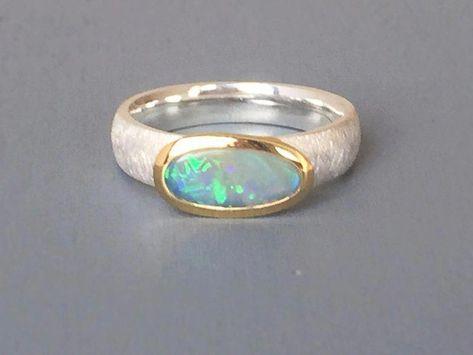 Opal - Australian opal ring 925 partially gold-plated - a designer piece by Stein . - Opal – Australian Opal Ring 925 partly gold-plated – a unique product by Steinschmuck-welt on D -