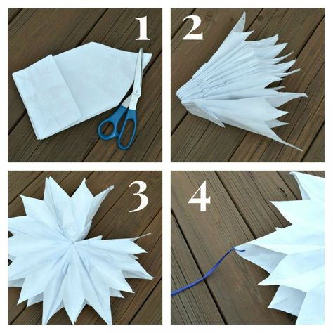 DIY Paper Bag Star Decorations - Made from Paper Lunch Bags Make your own DIY Paper Star Decorations using inexpensive paper lunch bags. Paper stars are perfect for weddings, graduation, birthday parties and more. Diy Paper Bag, Paper Bag Crafts, Christmas Bags, Christmas Paper, Paper Bag Flowers, Small Paper Bags, Star Diy, Printable Christmas Cards, Paper Stars