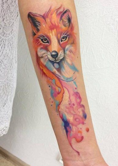 Would You Get A Watercolor Fox Tattoo Or A Regular One Watercolor Fox Tattoos Fox Tattoo Small Watercolor Tattoo