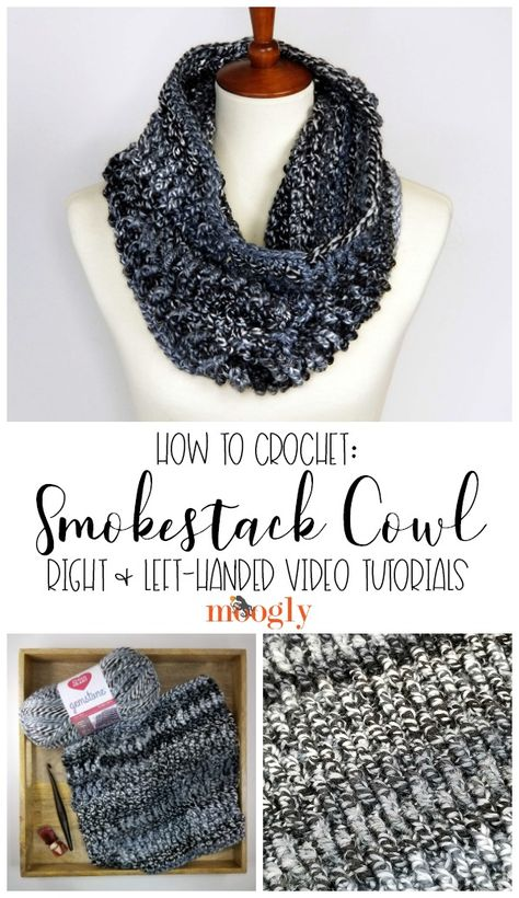 The Smokestack Cowl Tutorial goes over every step of this cozy one skein circle scarf - in both right and left-handed videos! Get the free pattern made with Red Heart Gemstone and watch now on Moogly! One Skein Crochet, Learn To Crochet, Crochet Scarves, Crochet Shawl, Crochet Clothes, Free Crochet, Moogly Crochet, Crochet Scarf Tutorial, Crochet Granny
