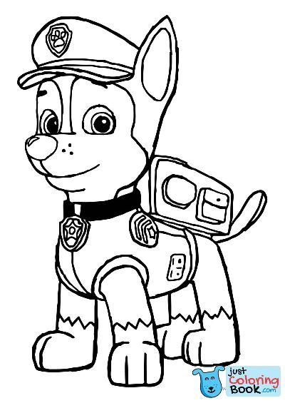 Chase Police Pup Paw Patrol Police Dog Coloring Page Printable