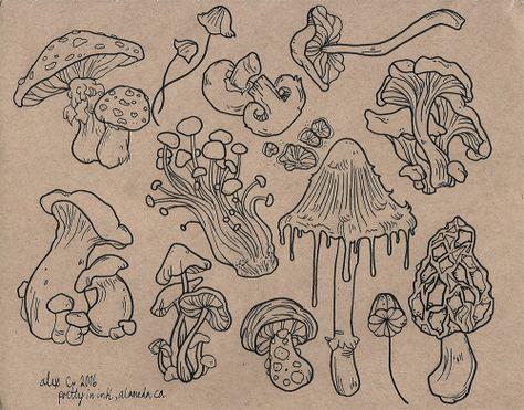 Sheet of mushroom flash for the shop! Mushroom Drawing, Mushroom Art, Arte Sketchbook, Sketchbook Ideas, Hippie Art, Hippie Drawing, Hippie Painting, Cute Tattoos, Pretty Tattoos