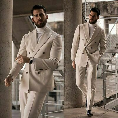 Men Ivory Linen Suit Double Breasted Tuxedo Peak Lapel Party Prom Dinner Suit
