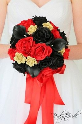 Black Red And Gold Wedding Flower Brides Bouquet With Roses