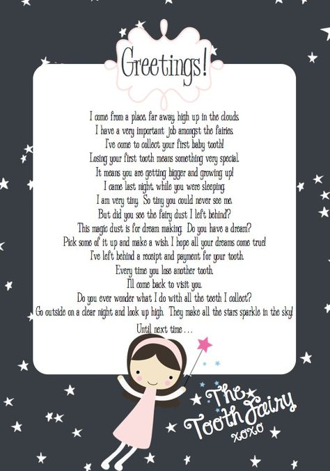 oh yeah...I remember why I'm pinning this...I wrote something similar once to my goddaughter when she slept over and lost a tooth!  FREE Printable Tooth Fairy Letter