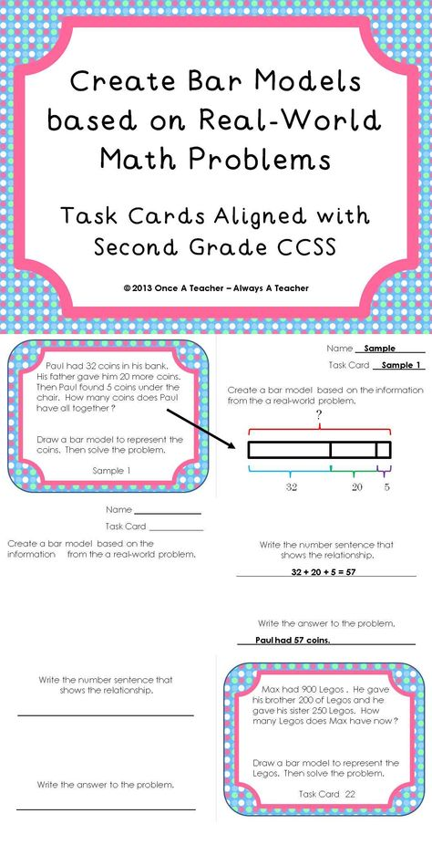 Create Bar Models Based On Real World Math Problems Task Cards Bar Model Singapore Math Task Cards