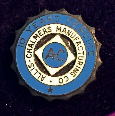 Vintage ALLIS-CHALMERS 10 Year Employee Service Award Pin Badge
