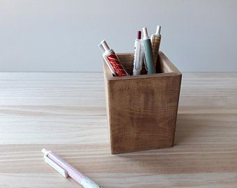 Items Similar To Modern Desk Organizer Wooden Clock Pen Holder