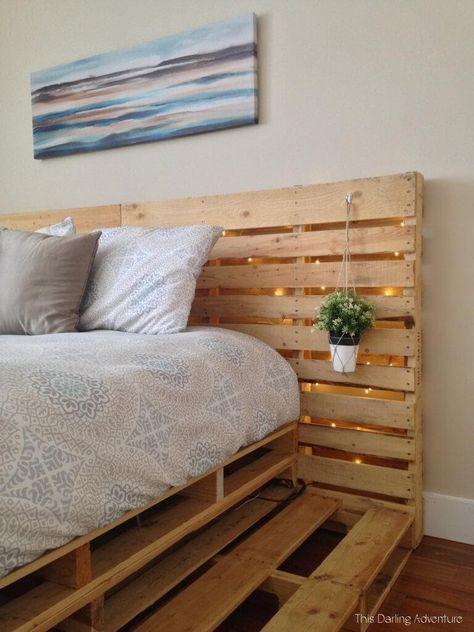 Minimalist Pallets Over Expensive Frames: 14 Creative Ideas To Design Your Pallet Platform Wood Pallet Beds, Pallet Bed Frames, Diy Pallet Bed, Diy Pallet Furniture, Pallet Room, Palette Furniture, Pallet Ideas, Room Ideas Bedroom, Bedroom Decor