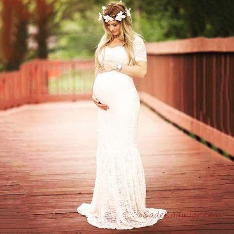 c60301b10e57 2019 Baby Shower Elbise Modelleri Beyaz Uzun Kısa Kollu Kalp Yaka Dantel