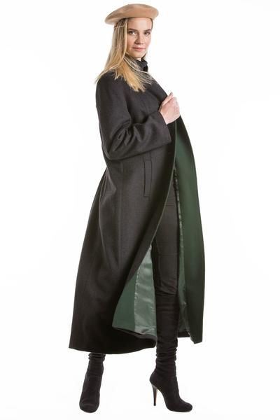 96d088990 Silvia - Women's Long Loden Wool Coat with removable hood Green in ...