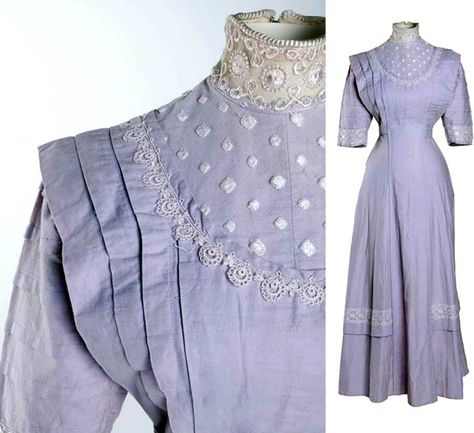 Wedding dress, 1910. Lilac plain-weave cotton and machine lace. Long princess-lined gown with flared skirt and rows of pintucks. Museum of London